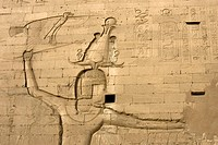 PHARAOH PTOLEMY XII, TEMPLE OF EDFU, THIS TEMPLE IS THE BEST PRESERVED OF ALL OF ANCIENT EGYPT, TEMPLE DEDICATED TO THE FALCON GOD HORUS, THE TEMPLE W...