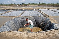 A man works at salt plantation field at Bashkhali It is one of the oldest and most ubiquitous of food seasonings and used to preserve food Salt is far...
