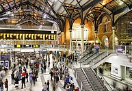 England, London, Liverpool Street. Busy concourse inside Liverpool Street Station in the City of London.