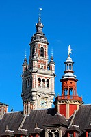 France, Nord, Lille, belfry of the town hall.