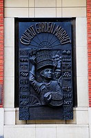 England, London, Covent Garden. A bronze wall plaque in Covent Garden honouring all those who bought and sold fresh produce in the market since King C...