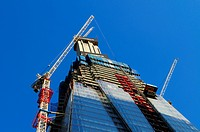 England, London, Southwark. Construction on Shard London Bridge, also known as the Shard of Glass. The building is due for completion in 2012 and will...