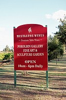 Sign at Mistletoe Wines, Pokolbin, Hunter Valley, New South Wales, Australia