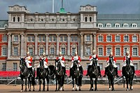 England, London, Buckingham palace, horses guards