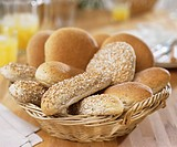 Assorted rolls in bread basket