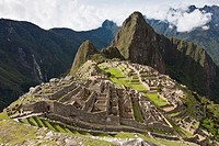 A classic overview of the Machu Picchu complex as seen from the Watchman´s Hut  Machu Picchu, Peru