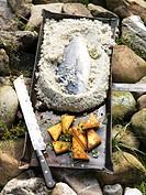 Sea bream in salt crust and polenta with lemon thyme