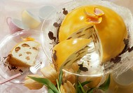 Lemon cream gateau with apricot jelly