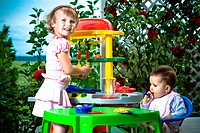 kids and toy kitchen