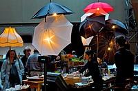 Art design of snack bar with umbrellas in the Kimmel´s Center lobby, Philadelphia, Pennsylvania, PA, USA