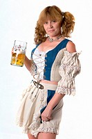 German woman with beer stein