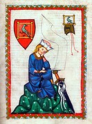 Illumination from the 14th Century Codex Manesse, Walther von der Vogelweide, German Lyrical Poet of the 12th and 13th centuries