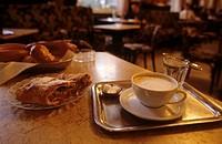 Apple strudel, coffee melange & water in Vienna coffee house