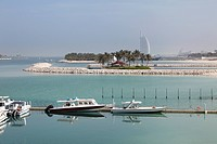 Dubai, United Arab Emirates, View of Burj al Arab hotel with coast