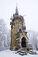 Austria, Vienna, Wienerwald, View of habsburgwarte tower at hermannskogel
