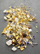 Mediterranean seasoned salt with edible flowers, herbs, pepper and fennel