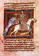 BESTIARY: THE TIGER.Manuscript illumination from a 12th century English latin bestiary.