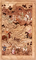 INDIAN MUGHAL BOOK.Khusrau and Parviz hunting, by Abd Al-Samad, 1595.