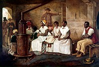 SLAVE MARKET, 1852-53.Slave auction in Richmond, Virginia. Oil on canvas, 1852-53, by Eyre Crowe.