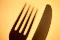 Close_up of a fork and a knife