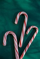 Close_up of three candy canes