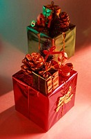 Close_up of Christmas presents