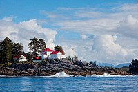 Buildings on the coast, Dryad Point Lighthouse, Ivory Island, Bella Bella, British Columbia, Canada