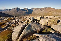 View to Cairn Toul left, The Angel´s Peak left of centre and Braeriach right, Grampian Mountains, Cairngorms National Park, Scotland, October