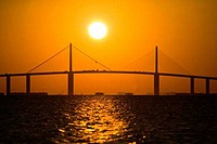 Suspension bridge across the sea, Sunshine Skyway Bridge, St. Petersburg, Pinellas County, Florida, USA