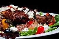 Close up of steak salad