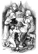 THOMAS NAST: SANTA CLAUS.'Merry Christmas.' Wood engraving after a drawing by Thomas Nast, 1879.