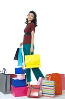 Woman with gifts and shopping bags (thumbnail)