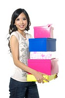 Woman holding gifts