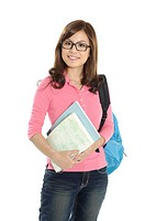 Portrait of a female university student carrying a bag and books