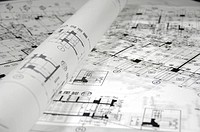Close_up of blueprints in an office