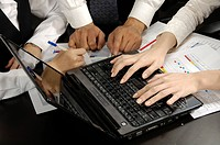 Business executives using a laptop in an office