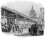 CHRISTMAS IN LONDON, 1845.'Newgate Market on Christmas Eve.' Wood engraving, English, 1845.