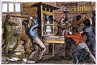 LOVEJOY'S PRINTING PRESS.Elijah Lovejoy's printing press at Alton, Illinois, in the hands of a pro-slavery mob, 7 November 1837. Contemporary engravin...