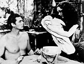TARZAN: WEISSMULLER, 1939.Johnny Weissmuller and Maureen O'Sullivan as Tarzan and Jane in 'Tarzan Finds a Son,' 1939.