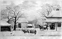 THANKSGIVING, 1867.Lithograph, 1867, by Currier & Ives.