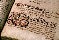 Page from Icelandic Sagas, dates back to between the 12th and 14th centuries  Manuscripts are preserved at the Thjodarbokhladan Library museum in Reyk...