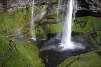 Seljalandsfoss Waterfalls, Iceland Walking path behind falls