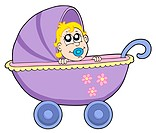 Baby in buggy _ isolated illustration.