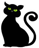 Cat silhouette on white background _ isolated illustration.