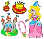 Princess collection on white background _ isolated illustration.