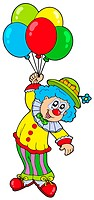 Funny smiling clown with balloons _ isolated illustration.