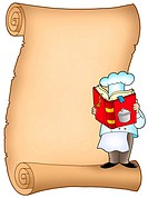 Parchment with chef and book _ color illustration.