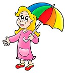 Girl with umbrella _ color illustration.