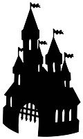 Old castle silhouette _ isolated illustration.