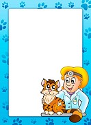 Frame with cat at veterinarian _ color illustration.